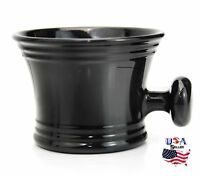 BLACK Shaving Soap Bowl /Mug With Handle unbreakable plastic light weight
