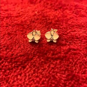 *NEW* Genuine Pandora Silver White Enamel Orchid Stud CZ Earrings 290749EN12