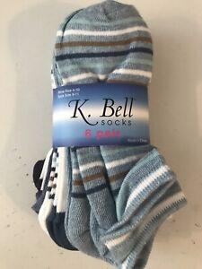 NWT K. BELL SOCKS (6 PK)- WOMEN - RET $11 - SIZE 4-10 - DENIMS - (5-BX14-1) (x5)