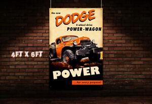1940s 6x4 Dodge Dealer Garage Banner Hot Rod Powerwagon Truck Pickup Hemi 4x4