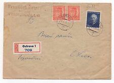 1949 CZECHOSLOVAKIA Registered Cover OSTRAVA Švasia