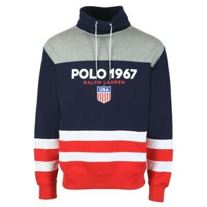 Polo Ralph Lauren Mens Grey Polo 1967 Funnel Neck Sweatshirt Top NEW BNWT L CV2