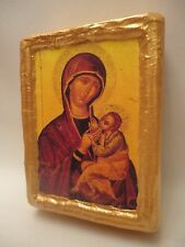 Virgin Mary Jesus Christian Icon Russian Eastern Orthodox Icon on Pine Wood