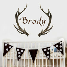 Name Wall Decals Antlers Deer Decal Hunting Themed Nursery Decor Boy Name MA226