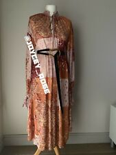 ZARA PATCHWORK PRINT DRESS/KAFTAN WITH LONG SLEEVES WITH TIE. SIZE S Autumn