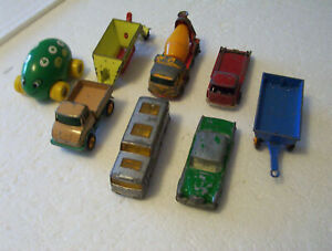 LOT OF 8 VINTAGE VEHICLES, MOSTLY LESNEY FROM ENGLAND