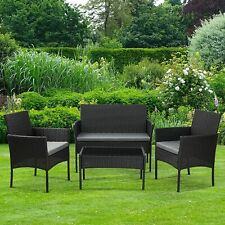 More details for garden patio furniture outdoor rattan effect 4 piece set sofa + table + 2 chairs