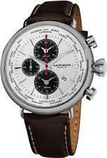 Akribos XXIV AK629WT World Time Alarm Date GMT Brown Leather Strap Mens Watch