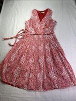 Evan Picone Dress Sz 8 Red White Medallion Dress Faux Wrap Tie Waist Lined
