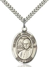 Sterling Silver Catholic Saint John Paul II Medal, 1 Inch