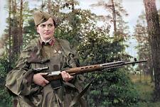 Lyudmila Pavlichenko woman Sniper WW2 Russian soldier Soviet army photo COLOR