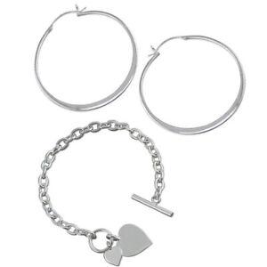 Large Flat Creole Hoop Earrings & Double Heart Tag Bracelet Sterling Silver