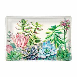 Michel Design Works Pink Cactus Succulent Garden Glass Soap Dish Trinket Tray