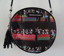 Mexican Skeleton Fiesta Black Round Handbag - Candy Skull Bag Horror Day of Dead