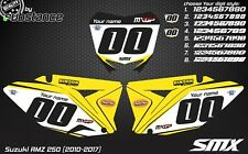 Suzuki RMZ 250 2010-2017 number plates backgrounds graphics decals stickers MXGP