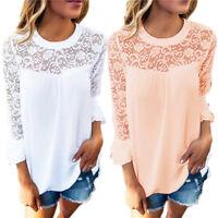 Women'S Ladies Long Sleeve Shirt Loose Casual Blouse Lace Top Chiffon T-Shirt YR