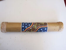 Hand Carved Palm Wood Hand painted Dotted Designs  Rain stick Bali