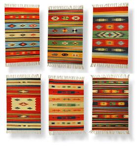 Tappeto Stuoia Passatoia 100% Cotone Kilim Indiano Etnico 6 Disegni 10 Misure ch
