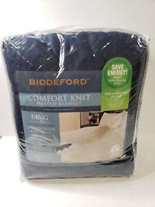 BIDDEFORD COMFORT KNIT HEATED BLANKET KING  NAVY JCP MACHINE WASH