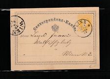 entier postal petite carte  Autriche  2 kr jaune voyagée en 1875