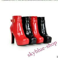 Womens Buckle Platform Side Zip Patent Leather Chunky Ankle Boots Casual Shoes