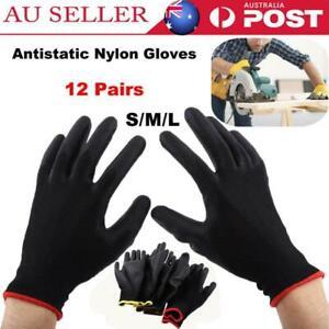 24Pcs Antistatic Nylon Gloves Safety Mechanic Workers Garden Builder Work Gloves