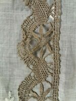 Genuine Antique 100% Cotton Taupe Bobbin Lace Trim for Sewing.