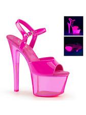 Pleaser Sky-309uvt Neon UV Pink Platform Ankle Strap Sandal High HEELS Open Toe 7