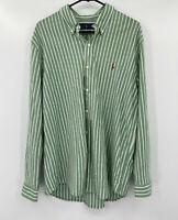 Ralph Lauren Blue Label Mens Button Front Knit Oxford Shirt XL Green Striped