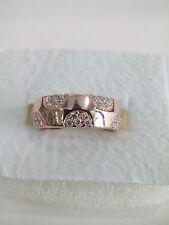 Anello donna argento 925 placcato oro rosa,zirconi bianchi 18 San Valentino Ring