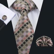 LUXURY GIFT SET > Mens Multi Diamond Check Silk Tie Handkerchief Hanky Cufflinks