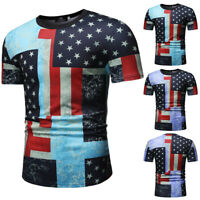 American Flag Stars And Stripes Patriotic Men's Short Sleeve Slim Fit T-Shirt