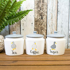 Set of 3 Madison Duck Farmyard Farm Tea Coffee Sugar Storage Canisters Jars Pots