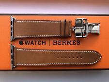 Apple Hermes Strap - 44mm Fauve Barenia Leather Single Tour Deployment Buckle