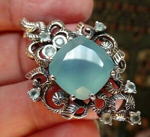 Chunky Stylish Sterling Silver and Chalcedony Necklace 13.3g