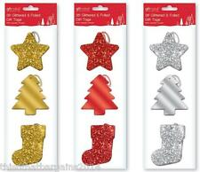 36 Glittered and Foiled Christmas Gift Tags - Gold
