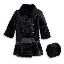 American Girl Rebecca's Winter Coat Black Faux Fur with Muff and satin belt