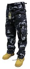 "Mens Ladies Camo Plain Army Cargo Combat Trousers 28"" - 56"" Short Regular Long Midnight 32l 34"""