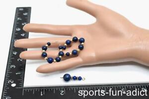 Women's 14K Graduating Lapis Lazuli Beaded Yellow Gold Earrings & Pendant Set