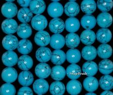 12MM QUEEN TURQUOISE  GEMSTONE BLUE ROUND 12MM LOOSE BEADS 15""