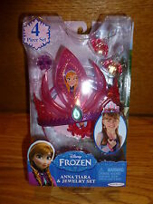Disney Frozen Princess ANNA 4 Pc Jewelry Set Crown Tiara Necklace Earrings Ring