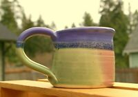 "Hand Spun Purple Dipped Pottery Coffee Mug 2 1/4"" Tall Signed by Artist"