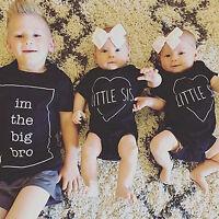 EG _ Grand Bro / petite soeur Imprimé ENFANTS été T-shirt barboteuse vêtements