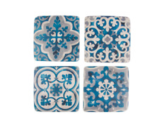 Sass & Belle Set of 4 Mediterranean Santorini Mosaic Ceramic Blue White Coasters