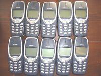 Lotto di 10 x Nokia 3310/30 - Cellulare Telefono solo,interamente BANCO testato.