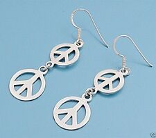 USA Seller Drop Two Circle Peace Sign Earrings Sterling Silver 925 Hook Jewelry