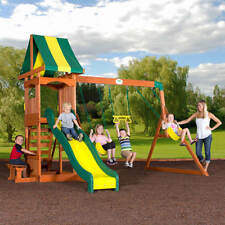 Backyard Discovery Weston Cedar Swing Set Playground Outdoor Slide Acrobat Bar