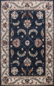 Floral Traditional Navy Blue/ Ivory Oriental Area Rug Hand-Tufted Wool 9x12 ft