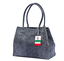 Made in Italy XL Ledershopper echt Leder grau Kroko Schultertasche Shopper