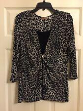 Ladies Choices Size L, Black & Gray animal Print 3/4 Sleeve top